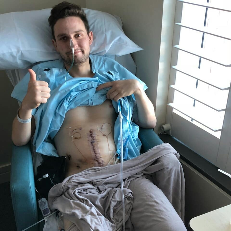 Hugo Toovey after surgery - Asking for a mate - Men's Health Week
