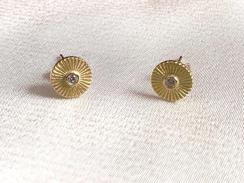 Sunburst Earrings w/ CZ Diamonds