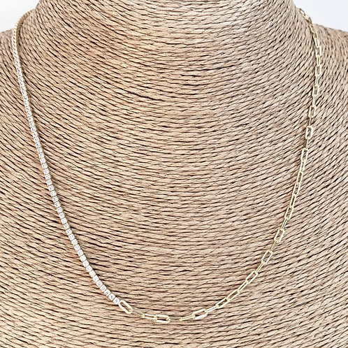 Mika + Co. // CZ Diamond Tennis & Paperclip Chain Necklace