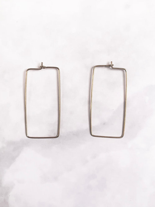 MASHALLAH // Brass Rectangle Hoop Earrings