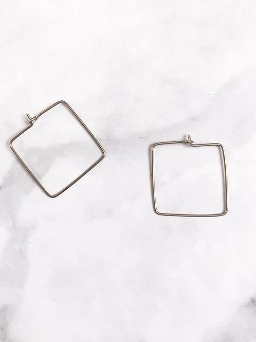 MASHALLAH // Brass Square Hoop Earrings