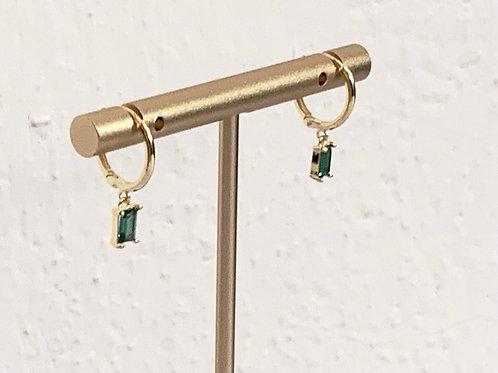 Small Hoop Earrings w/ Emerald Green Baguette CZ Diamonds