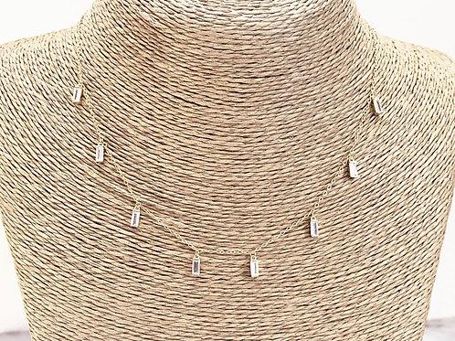 Mika + Co. // Gold Necklace w/ Dangling Baguette Cut CZ Diamonds