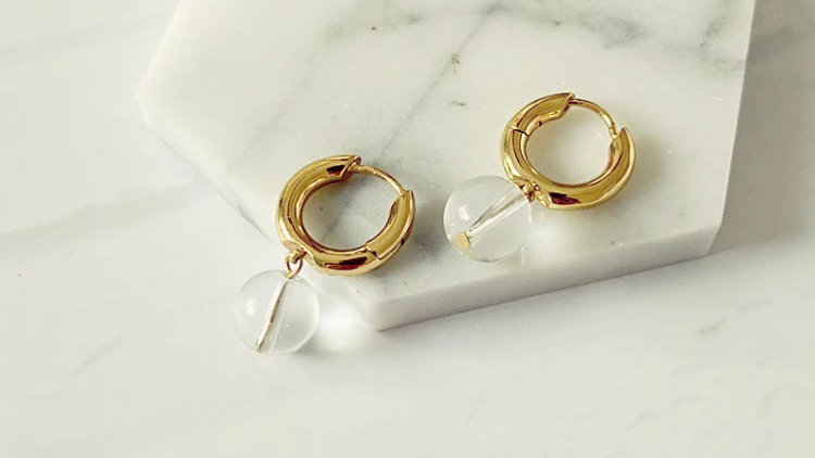 Chunky Gold Hoop Earrings w/ Crystal Ball Drop