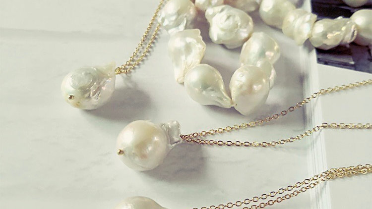 Gold Plated Necklace w/ Baroque Pearl Drop
