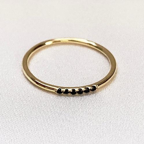 Mika + Co. // Gold Ring w/ Black CZ Diamonds