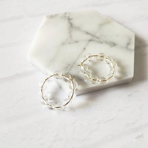 Gold Hoop Earrings w/ Crystal Beads
