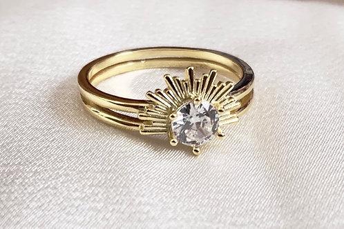 Mika + Co. // Sunburst Ring w/ Round Cut CZ Diamond