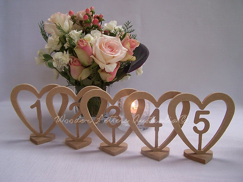 Sets of Short Heart Table Numbers