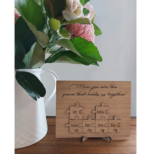Personalised Puzzle Piece plaque with stand