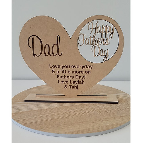 Personalised engraved MDF heart in base