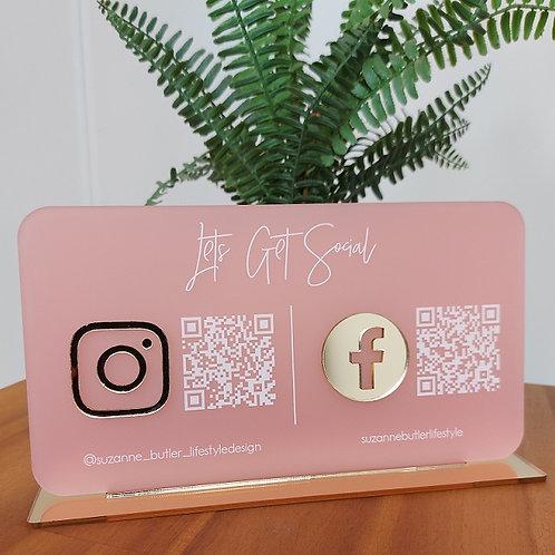 Let's Get Social Business Social Media Sign with QR codes - Landscape