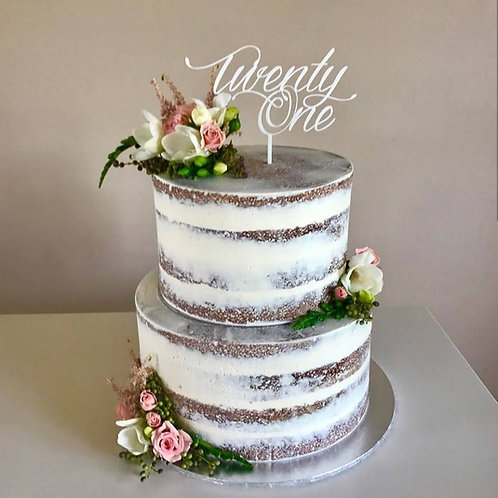 Twenty One Script Cake Topper