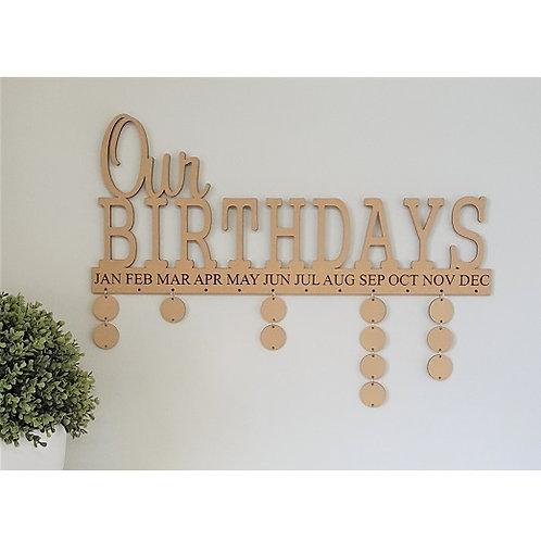Our Birthdays Calendar Style 2