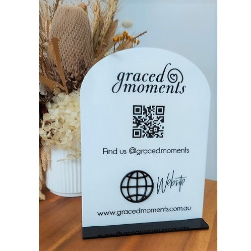 Business Social Media Sign with logo & QR code - Arch
