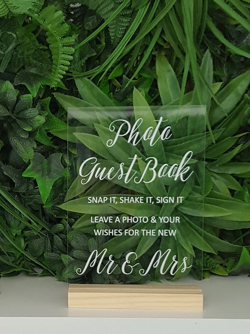 Photo Guest Book Acrylic Sign & Base