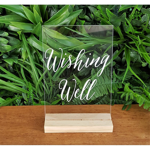 Wishing Well Acrylic Sign & Base