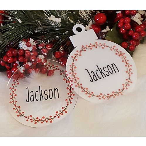 Personalised Name Christmas Berries Ornament