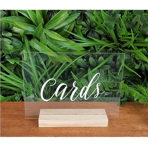 Cards Acrylic Sign & Base