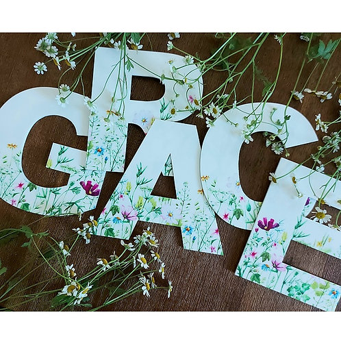 Wildflower Acrylic Printed Letters