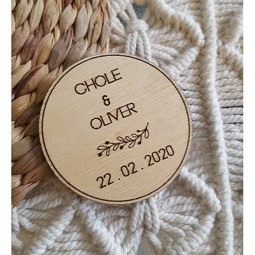 Wooden Engraved Coasters Personalised Names & Date