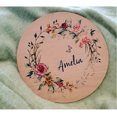Flower Wreath Printed Plaque