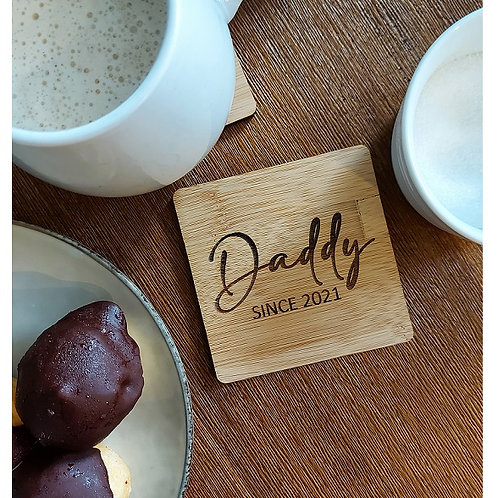 Double Sided Personalised Bamboo Drink Coaster