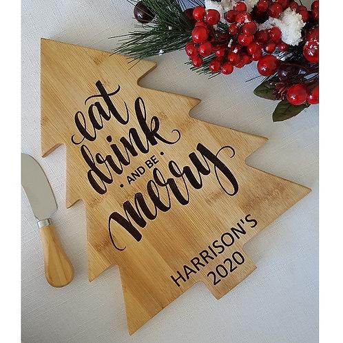 Personalised Eat Drink Merry Christmas Tree Cheese Board