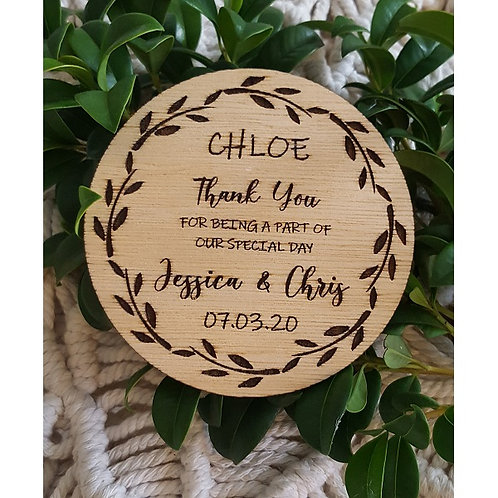 Wooden Engraved Thank You Coasters with Personalised Names