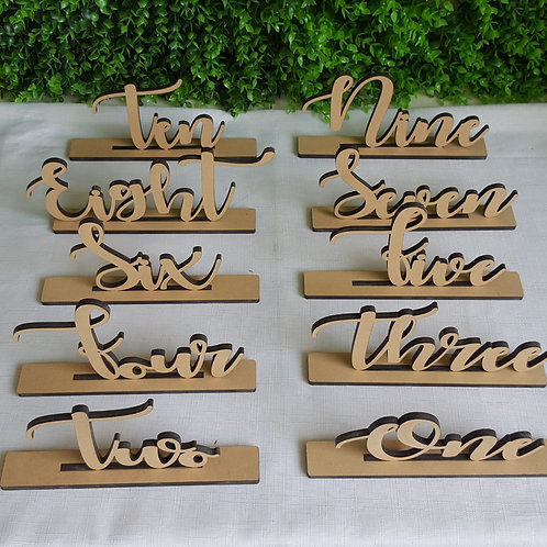 Set of 10 or 15 Freestanding Table Numbers with Base