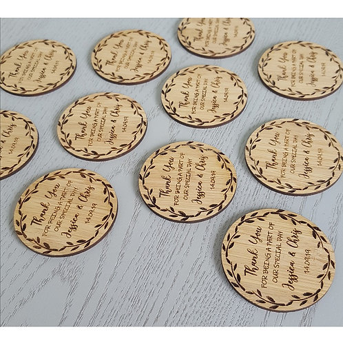 Wooden Engraved Thank You Coasters