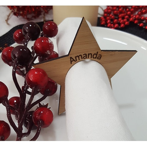 Christmas Star Personalised Place Name Napkin Rings