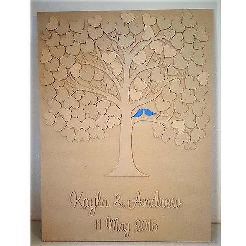 100 Heart Tree Board Painted Birds