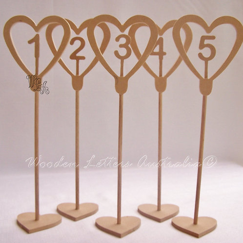 Set of Tall Hearts Table Numbers