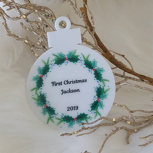 First Christmas Name Christmas Holly Ornament
