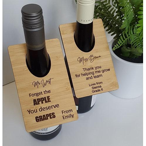Bamboo Wine Bottle Tags & Coaster