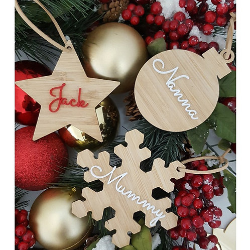 Personalised Bamboo/Acrylic Christmas Ornament
