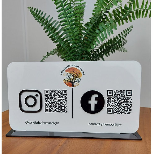 Business Social Media Sign with logo and QR codes - Landscape
