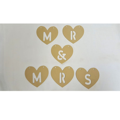 Mr & Mrs Wooden Heart Bunting