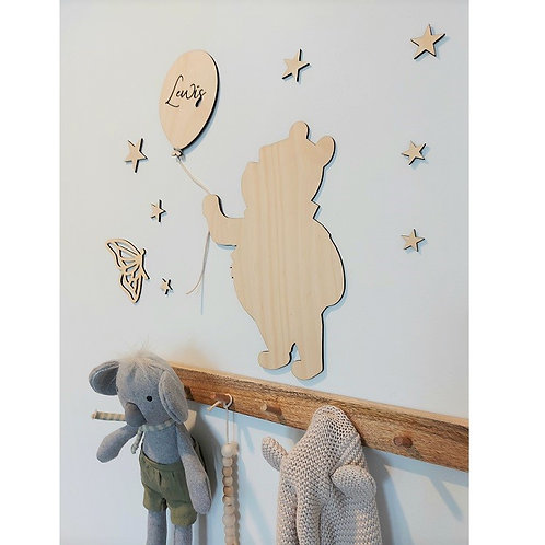 Wooden Bear with personalised name balloon