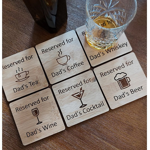 Bamboo Drink Coasters - set of 6