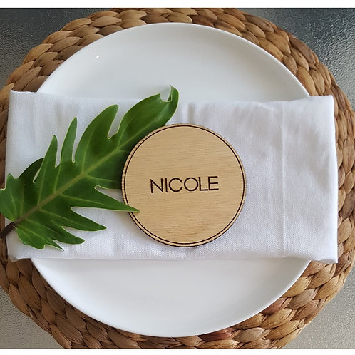 Wooden Double sided Engraved Coasters with Personalised Name