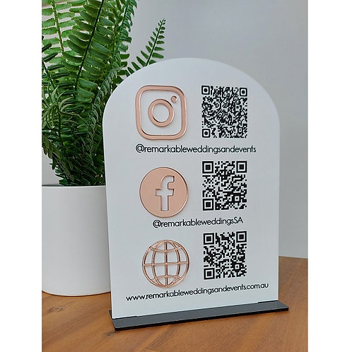 Business Social Media Sign with QR codes - Arch