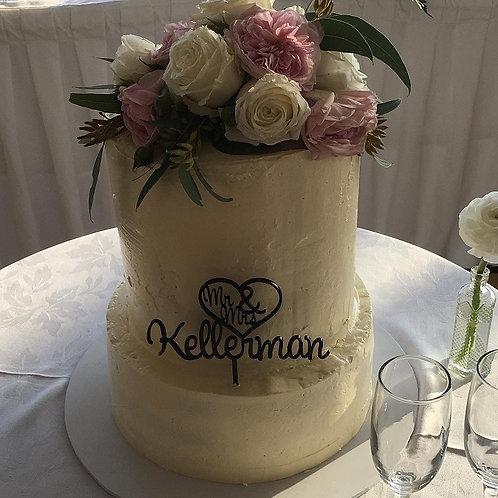 Mr & Mrs Surname Heart Cake Topper