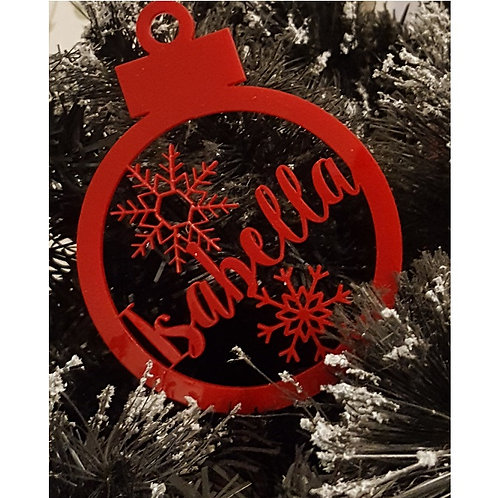Red Personalised Name Christmas Ornament
