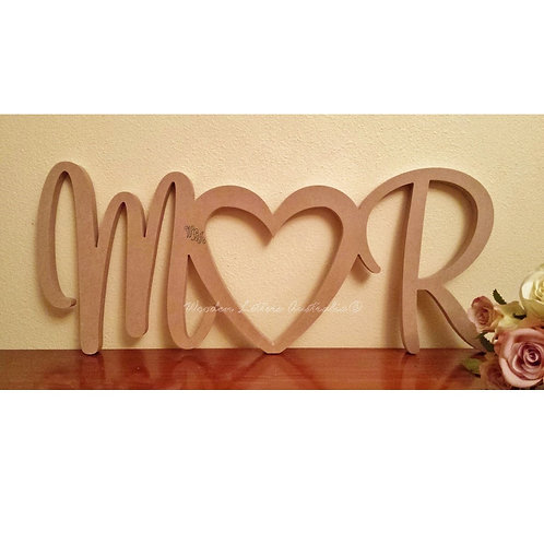 Initials joined by heart