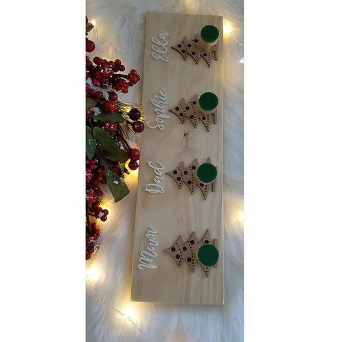 Christmas Tree Wooden Stocking Holder