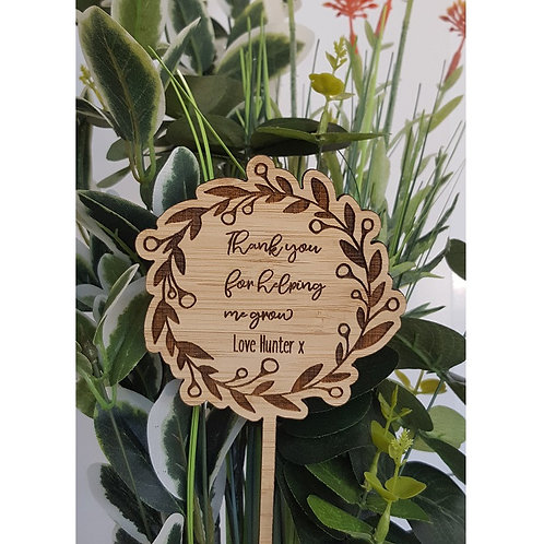 Personalised Teacher Wreath Flower Stem