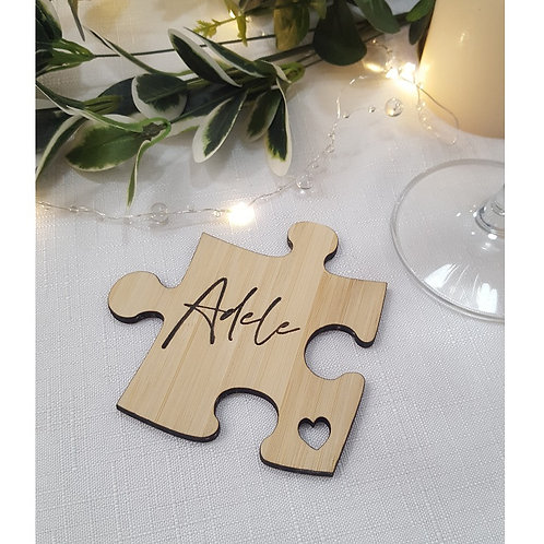 Wooden Personalised Engraved Puzzle Pieces Coasters