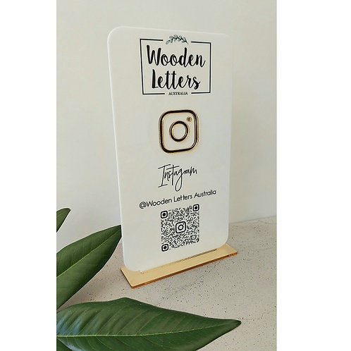 Business Social Media Sign - Portrait with QR code